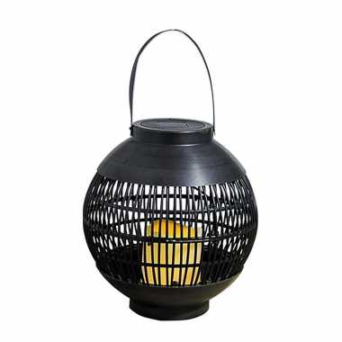 1 keer buiten/tuin zwarte rotan lampionnen/hanglantaarns 0 solar tuinverlichting