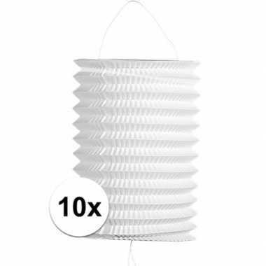 10 keer keer witte trek lampionnen 16 cm