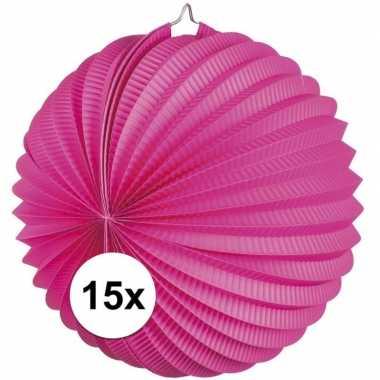 15 keer lampionnen fuchsia roze 0 2 meter
