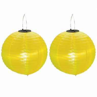 2 keer keer gele solar feest lampionnen 30 cm