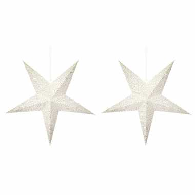 2 keer keer kerstversiering witte kerststerren gouden stippen 45 cm