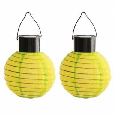 2 keer keer ronde solar feest lampion geel 10 cm
