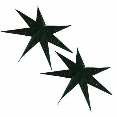 2 keer kerstversiering groene papieren kerststerren 60 cm type 1 / sterretjes