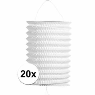 20 keer keer witte trek lampionnen 16 cm