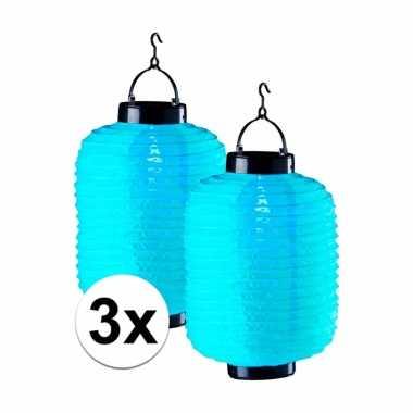 3 keer blauwe solar lampionnen 55 cm