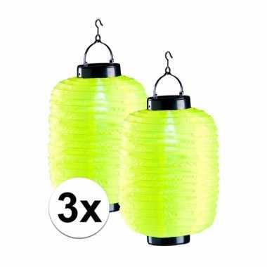 3 keer gele solar lampion 55 cm