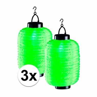 3 keer groene solar lampionnen 55 cm