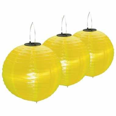 3 keer keer gele solar feest lampionnen 30 cm