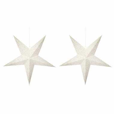 3 keer keer kerstversiering witte kerststerren gouden stippen 45 cm