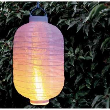 3 keer keer luxe solar lampion/lampionnen wit realistisch vlameffect
