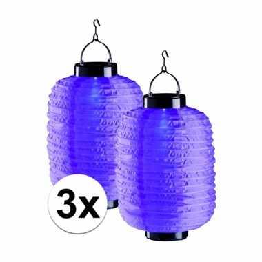 3 keer paarse solar lampionnen 55 cm