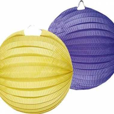 4 keer lampionnen blauw geel