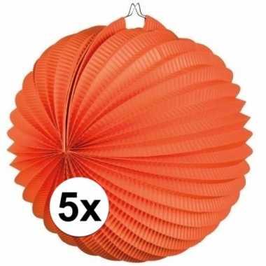 5 keer lampionnen oranje 0