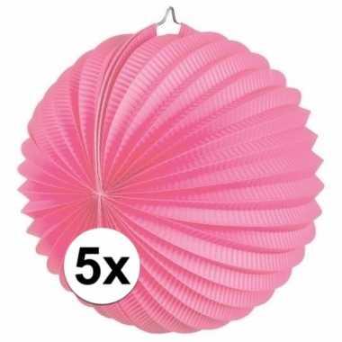 5 keer lampionnen roze 0