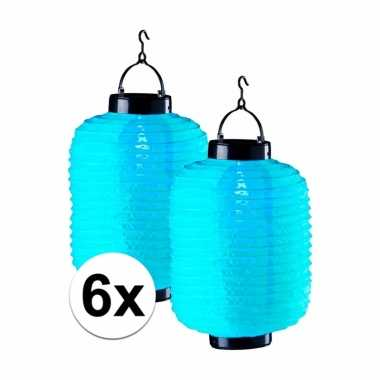 6 keer blauwe solar lampionnen 55 cm