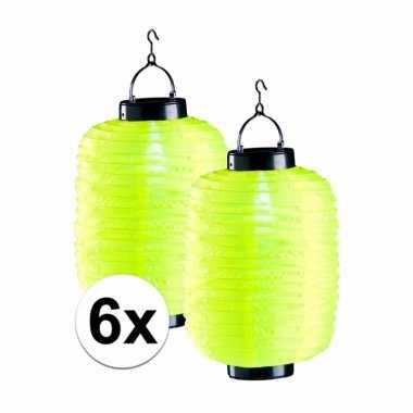 6 keer gele solar lampion 55 cm