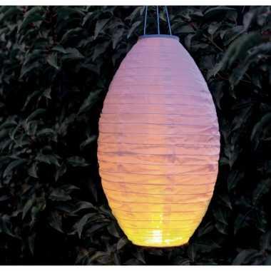 6 keer keer luxe solar lampion/lampionnen wit realistisch vlameffect