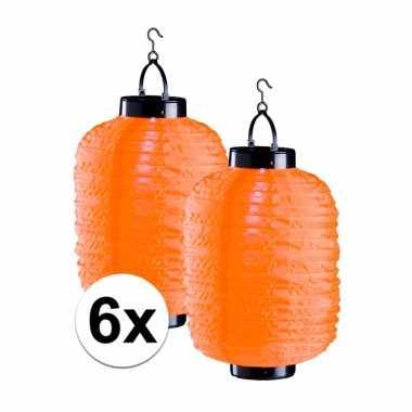 6 keer oranje solar lampionnen 55 cm