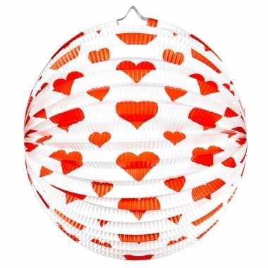 Bol lampion rond rode hartjes 36 cm