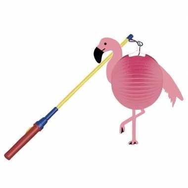 Flamingo bol lampion 25 cm lampionstokje