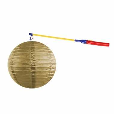 Gouden lampion 35 cm lampionstokje