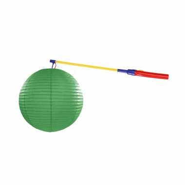 Groene lampion 25 cm lampionstokje
