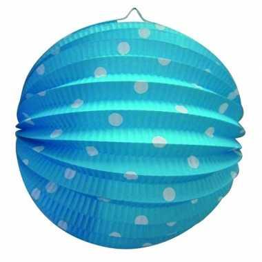 Lampion blauw witte stippen 0