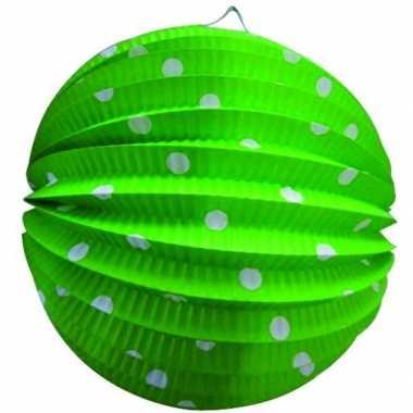 Lampion groen witte stippen 0