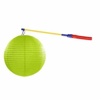 Lime groene lampion 35 cm lampionstokje
