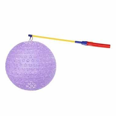 Luxe lila lampion 35 cm lampionstokje