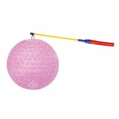Luxe roze lampion 35 cm lampionstokje