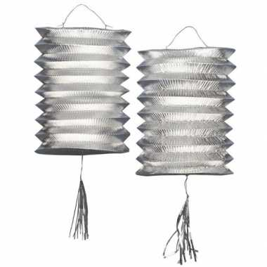 Metallic zilveren lampion 2 keer
