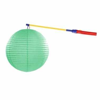Mint groene lampion 35 cm lampionstokje