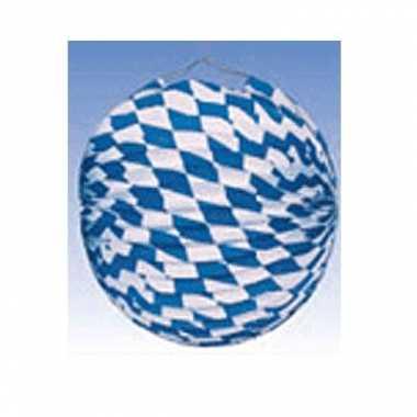 Oktoberfest 6 keer oktoberfest lampionnen blauw/wit 25 cm