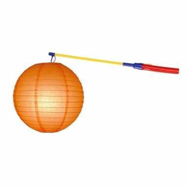 Oranje lampion 25 cm lampionstokje