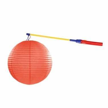 Oranje lampion 35 cm lampionstokje