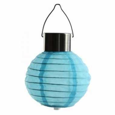 Ronde solar feest lampion blauw 10 cm