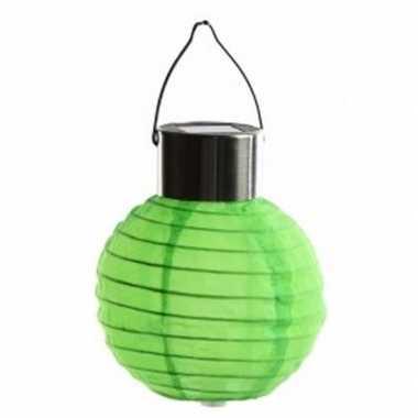 Ronde solar feest lampion groen 10 cm