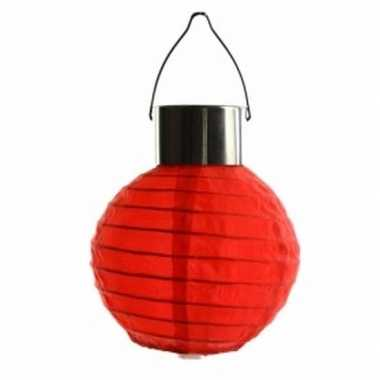 Ronde solar feest lampion rood 10 cm