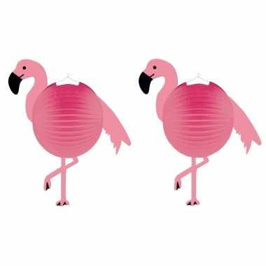 Set 6 keer keer flamingo thema roze bol lampionnen 25 cm