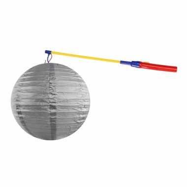Zilveren lampion 35 cm lampionstokje