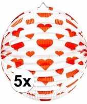5 keer keer bol lampionnen rond rode hartjes 36 cm