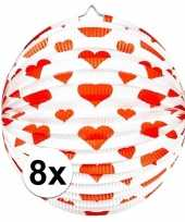 8 keer keer bol lampionnen rond rode hartjes 36 cm