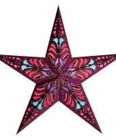 Kerstversiering decoratie kerststerren paars 60 cm