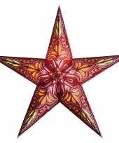 Kerstversiering decoratie kerststerren rood oranje 60 cm