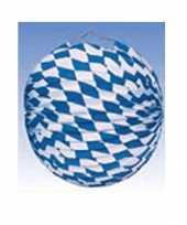 Oktoberfest lampion blauw wit 25 cm