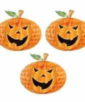 Set 3 keer keer halloween versiering pompoen honeycomb decoratie