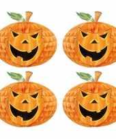 Set 4 keer keer halloween versiering pompoen honeycomb decoratie